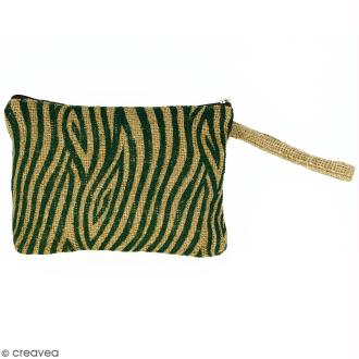 Pochette en jute naturelle taille M - Zébré - Vert sapin - 22 x 16 cm