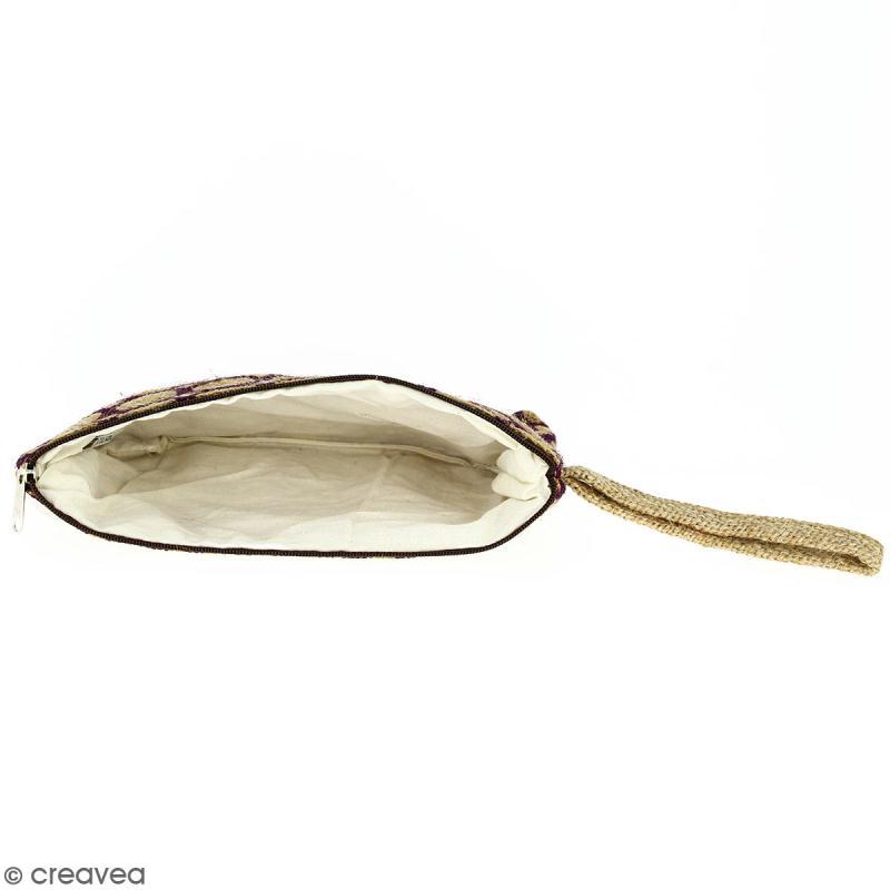 Pochette en jute naturelle taille M - Cercle - Violet - 22 x 16 cm - Photo n°2