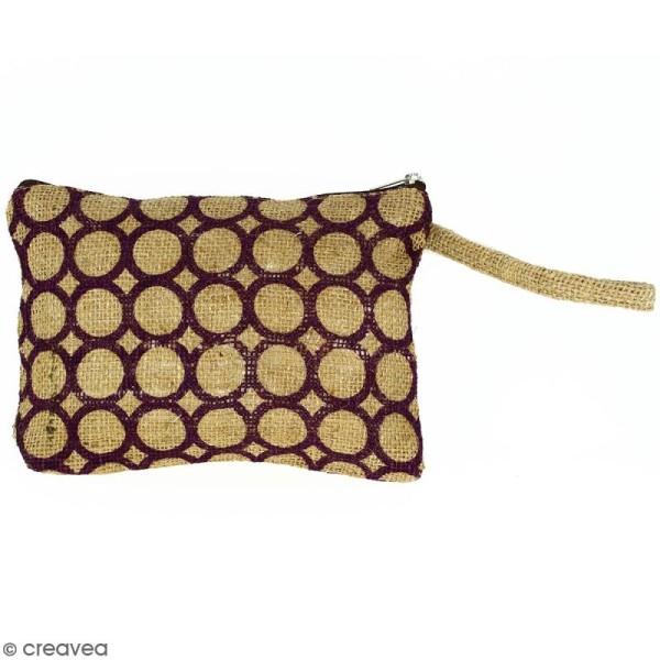 Pochette en jute naturelle taille M - Cercle - Violet - 22 x 16 cm - Photo n°1
