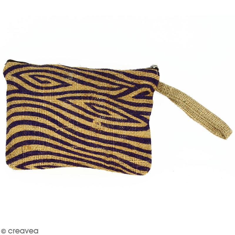 Pochette en jute naturelle taille M - Zébré - Violet - 22 x 16 cm - Photo n°1