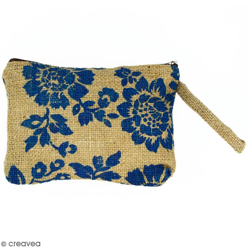 Pochette en jute naturelle taille M - Fleurs - Bleu - 22 x 16 cm - Photo n°1