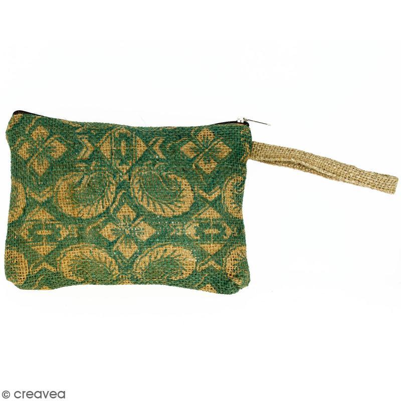 Pochette en jute naturelle taille M - Paisley - Vert sapin - 22 x 16 cm - Photo n°1