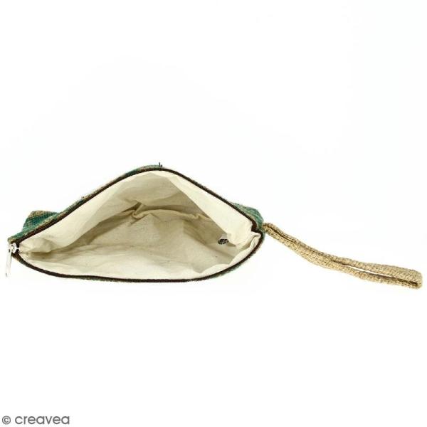 Pochette en jute naturelle taille M - Paisley - Vert sapin - 22 x 16 cm - Photo n°2