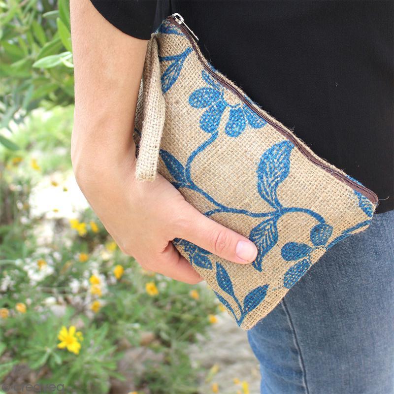 Pochette en jute naturelle taille M - Liane et fleurs - Bleu - 22 x 16 cm - Photo n°4
