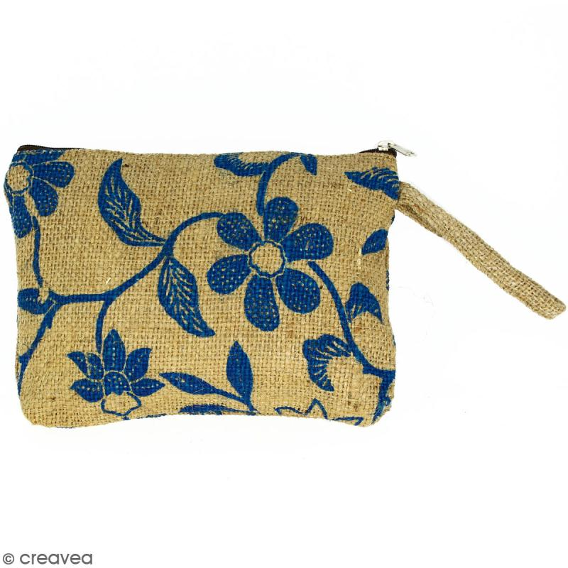 Pochette en jute naturelle taille M - Liane et fleurs - Bleu - 22 x 16 cm - Photo n°1