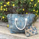 Pochette en jute naturelle taille M - Liane et fleurs - Bleu - 22 x 16 cm - Photo n°6