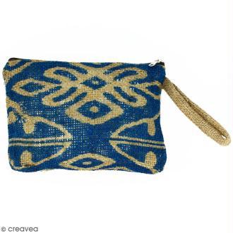 Pochette en jute naturelle taille M - Polynésien (grands motifs) - Bleu - 22 x 16 cm
