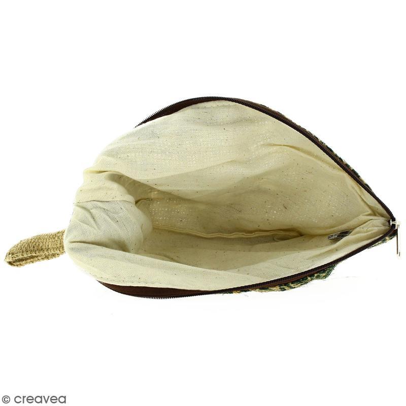 Pochette ovale en jute naturelle - Polynésien - Vert foncé - 24 x 16 cm - Photo n°2