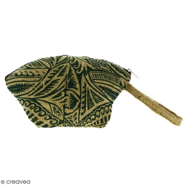 Pochette ovale en jute naturelle - Polynésien - Vert foncé - 24 x 16 cm - Photo n°1