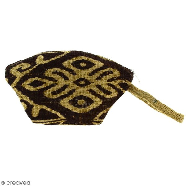 Pochette ovale en jute naturelle - Polynésien (grands motifs) - Marron - 24 x 16 cm - Photo n°1