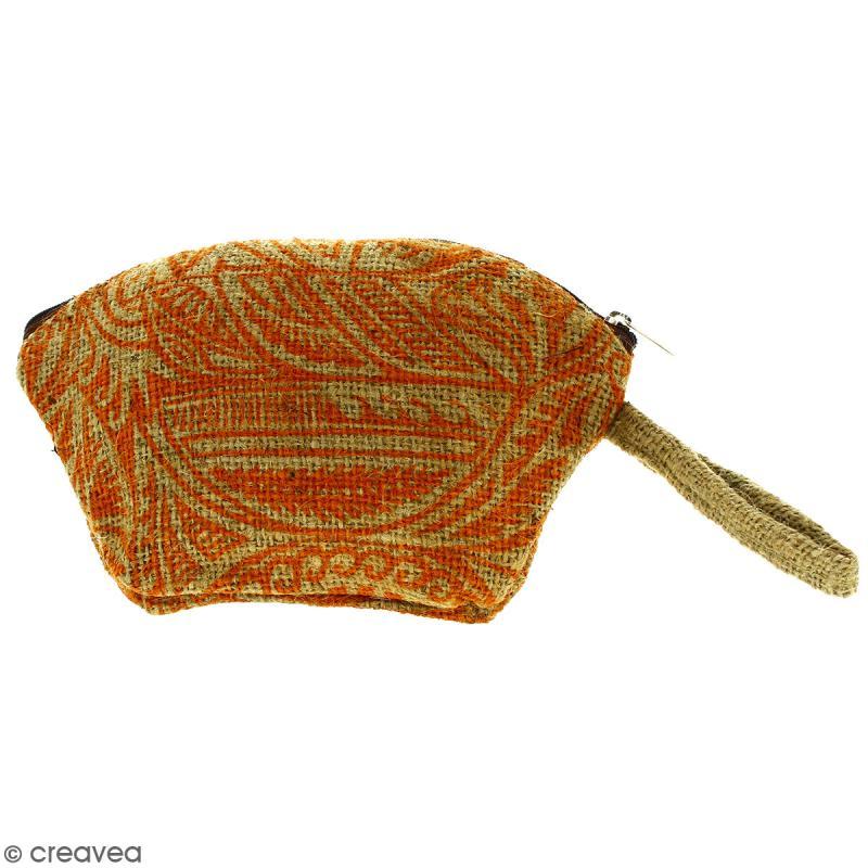 Pochette ovale en jute naturelle - Polynésien - Orange - 24 x 16 cm - Photo n°1