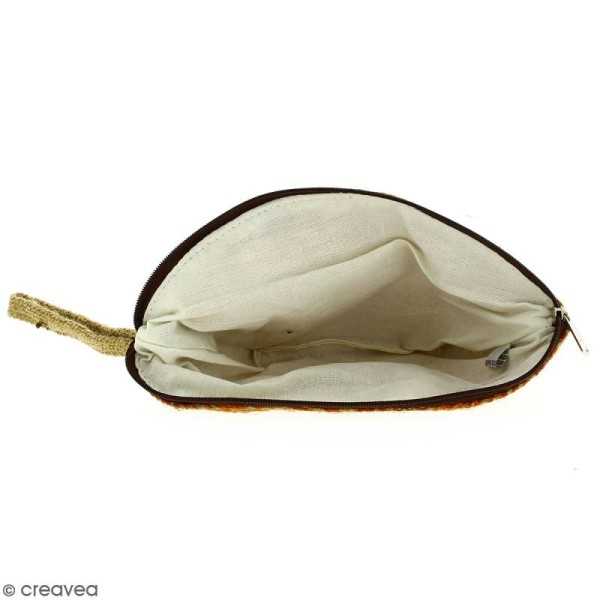 Pochette ovale en jute naturelle - Polynésien - Orange - 24 x 16 cm - Photo n°2