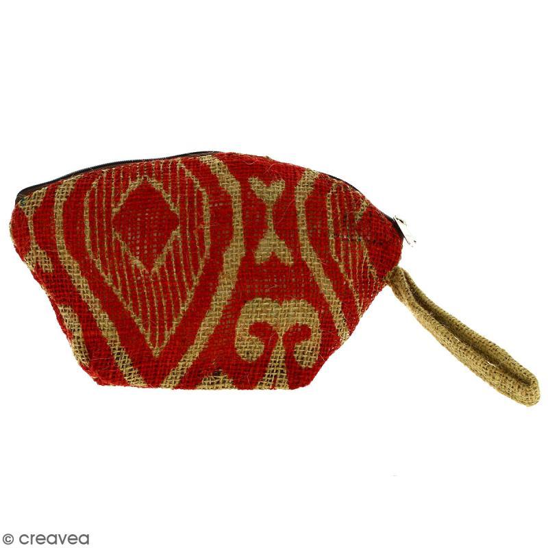Pochette ovale en jute naturelle - Polynésien (grands motifs) - Rouge foncé - 24 x 16 cm - Photo n°1
