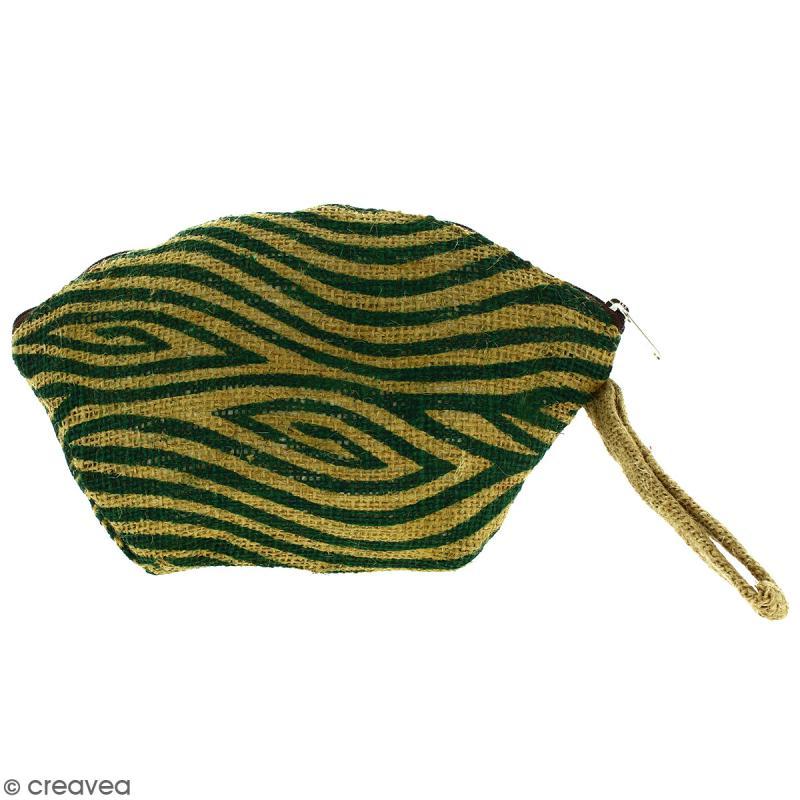 Pochette ovale en jute naturelle - Zébré - Vert sapin - 24 x 16 cm - Photo n°1