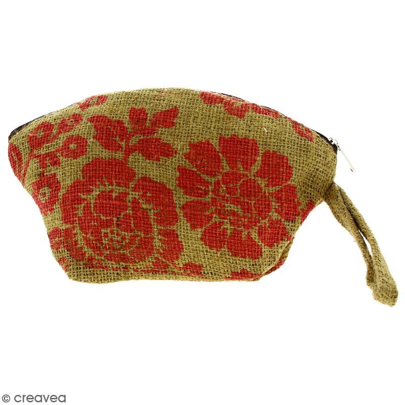 Pochette ovale en jute naturelle - Fleurs - Rouge clair - 24 x 16 cm - Photo n°1