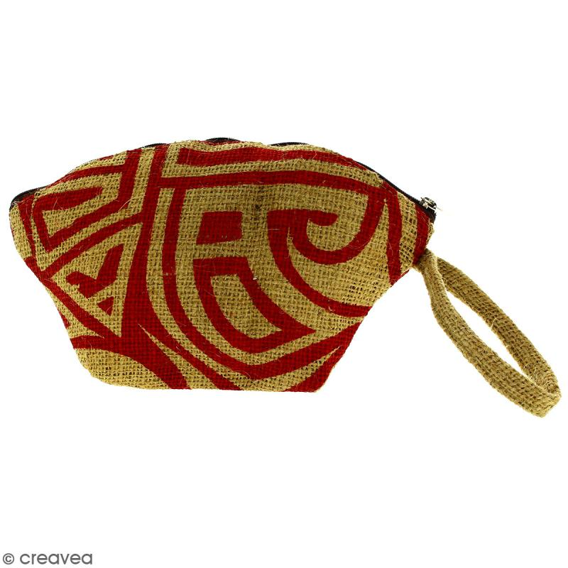 Pochette ovale en jute naturelle - Tribal ethnique - Rouge foncé - 24 x 16 cm - Photo n°1