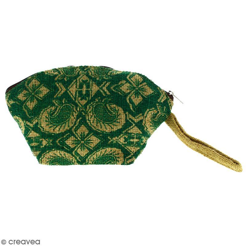 Pochette ovale en jute naturelle - Paisley - Vert sapin - 24 x 16 cm - Photo n°1