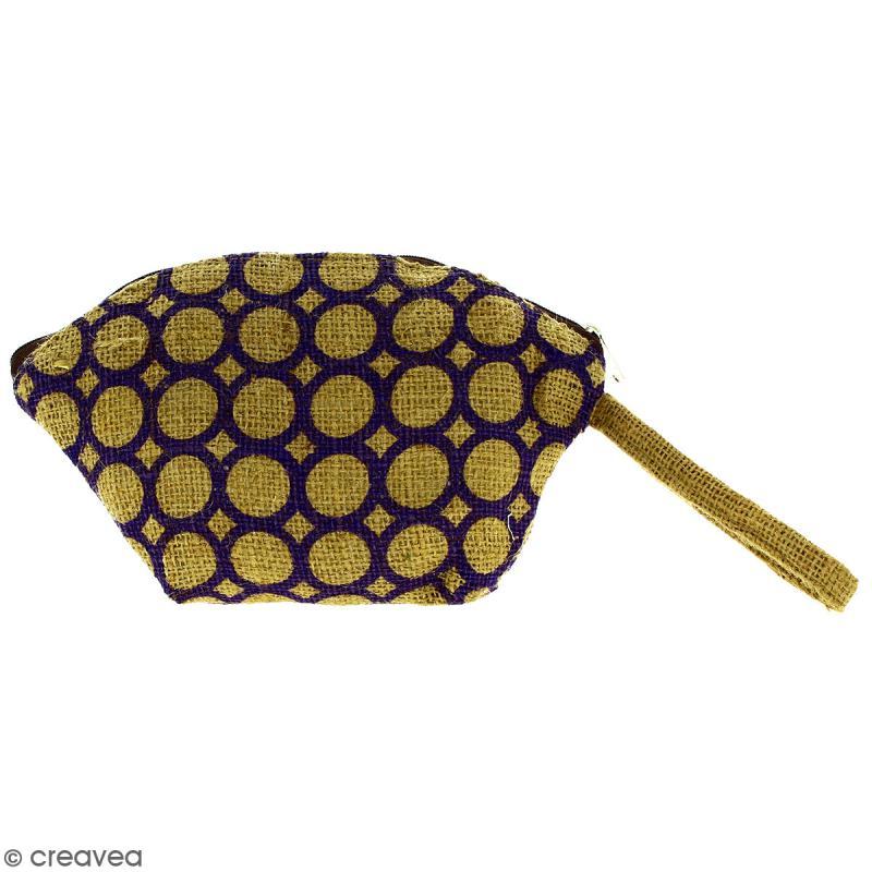 Pochette ovale en jute naturelle - Cercle - Violet - 24 x 16 cm - Photo n°1