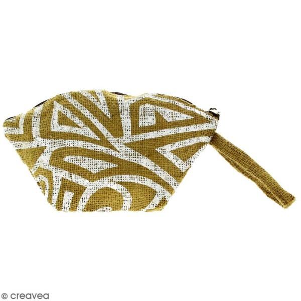 Pochette ovale en jute naturelle - Tribal ethnique - Blanc - 24 x 16 cm - Photo n°1