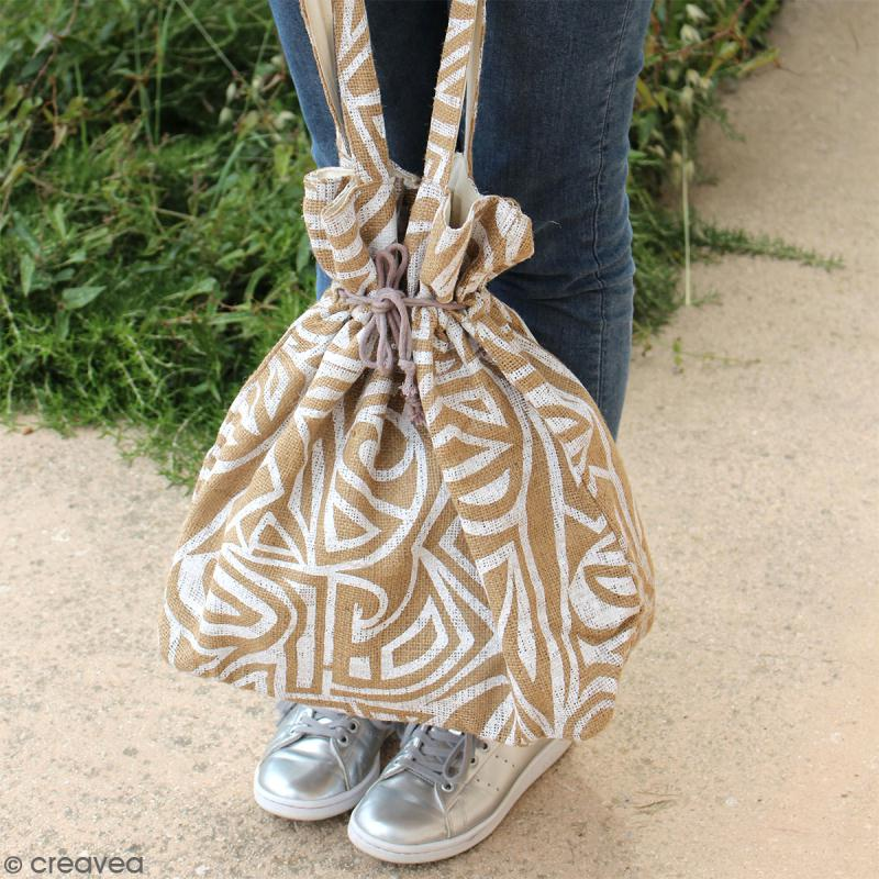 Grand sac seau en jute naturelle - Fleurs - Rouge framboise - 43 x 45 cm - Photo n°5