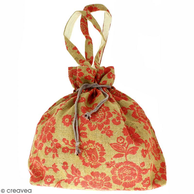 Grand sac seau en jute naturelle - Fleurs - Rouge framboise - 43 x 45 cm - Photo n°1
