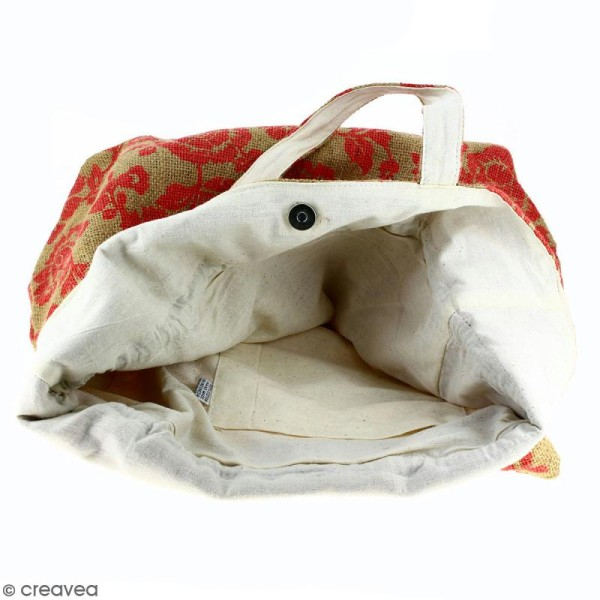 Grand sac seau en jute naturelle - Fleurs - Rouge framboise - 43 x 45 cm - Photo n°3
