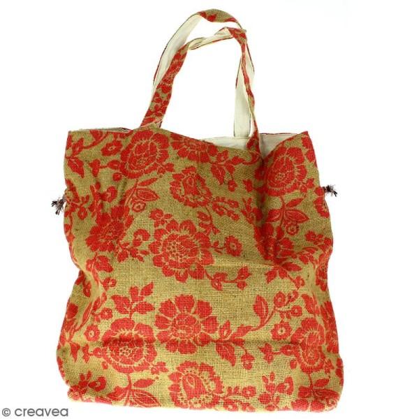 Grand sac seau en jute naturelle - Fleurs - Rouge framboise - 43 x 45 cm - Photo n°4