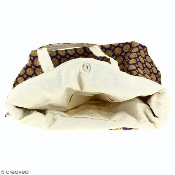 Grand sac seau en jute naturelle - Cercle - Violet - 43 x 45 cm - Photo n°3