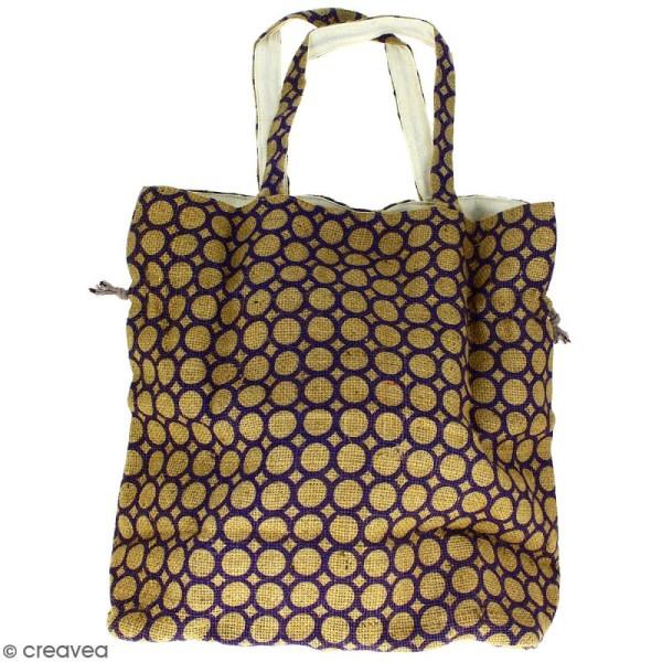 Grand sac seau en jute naturelle - Cercle - Violet - 43 x 45 cm - Photo n°4