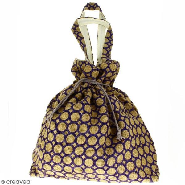 Grand sac seau en jute naturelle - Cercle - Violet - 43 x 45 cm - Photo n°1