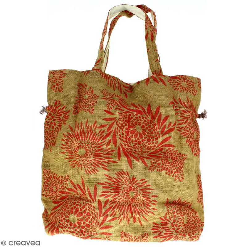 Grand sac seau en jute naturelle - Feu d'artifice - Rouge clair - 43 x 45 cm - Photo n°4