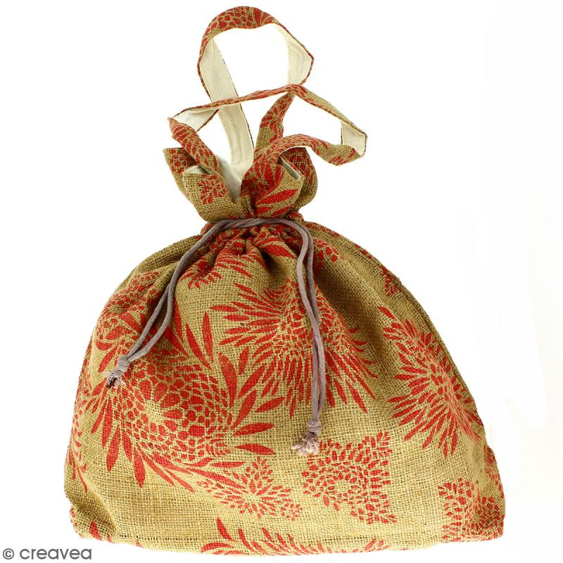 Grand sac seau en jute naturelle - Feu d'artifice - Rouge clair - 43 x 45 cm - Photo n°1