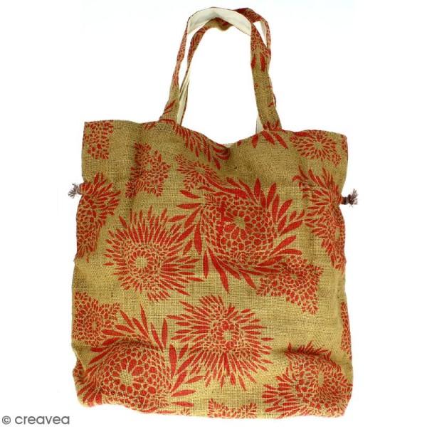 Grand sac seau en jute naturelle - Feu d'artifice - Rouge clair - 43 x 45 cm - Photo n°4