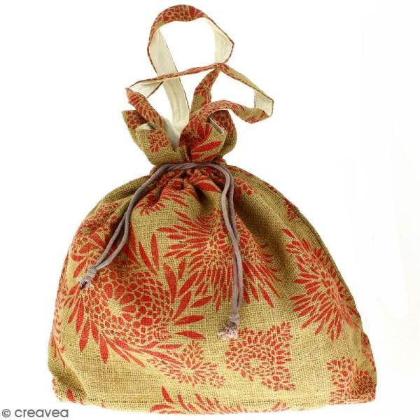 Grand sac seau en jute naturelle - Feu d'artifice - Rouge clair - 43 x 45 cm - Photo n°1