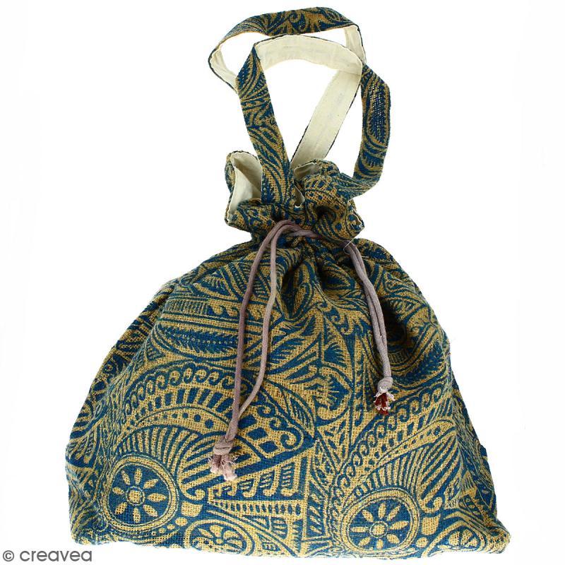 Grand sac seau en jute naturelle - Polynésien - Bleu - 43 x 45 cm - Photo n°1