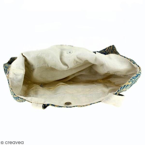 Grand sac seau en jute naturelle - Polynésien - Bleu - 43 x 45 cm - Photo n°3