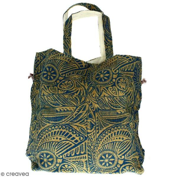 Grand sac seau en jute naturelle - Polynésien - Bleu - 43 x 45 cm - Photo n°4
