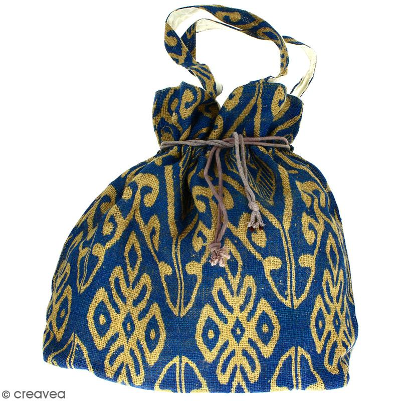 Grand sac seau en jute naturelle - Polynésien (grands motifs) - Bleu - 43 x 45 cm - Photo n°1