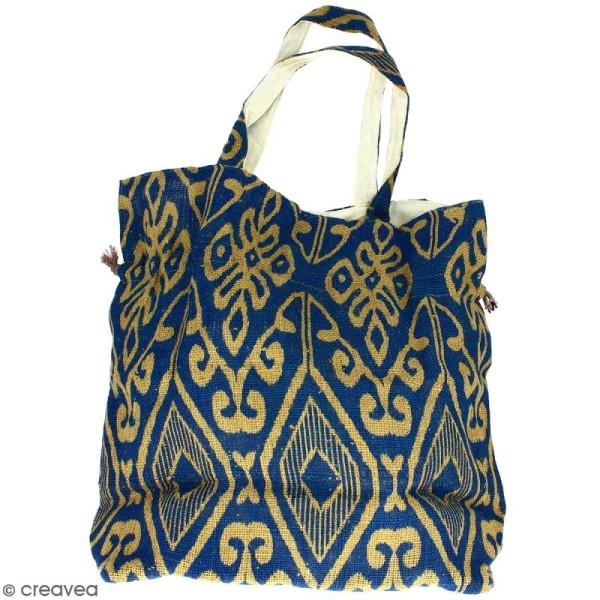 Grand sac seau en jute naturelle - Polynésien (grands motifs) - Bleu - 43 x 45 cm - Photo n°4