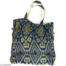 Grand sac seau en jute naturelle - Polynésien (grands motifs) - Bleu - 43 x 45 cm - Photo n°4