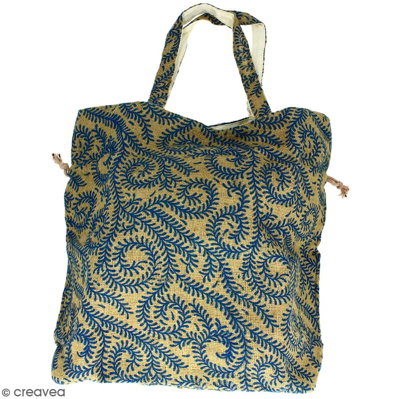 Grand sac seau en jute naturelle - Arabesques Végétales - Bleu - 43 x 45 cm - Photo n°4
