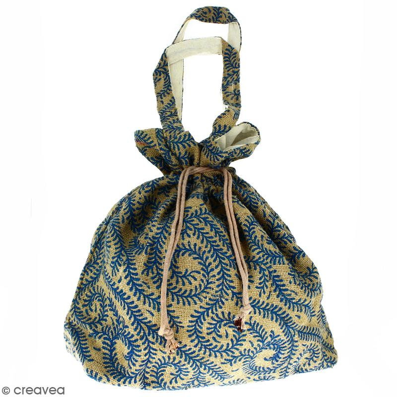 Grand sac seau en jute naturelle - Arabesques Végétales - Bleu - 43 x 45 cm - Photo n°1