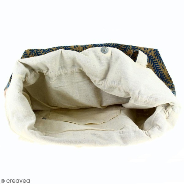 Grand sac seau en jute naturelle - Arabesques Végétales - Bleu - 43 x 45 cm - Photo n°3