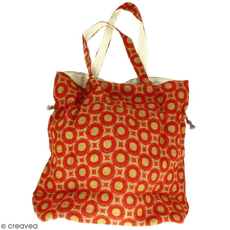 Grand sac seau en jute naturelle - Cercles et carrés - Rouge clair - 43 x 45 cm - Photo n°4