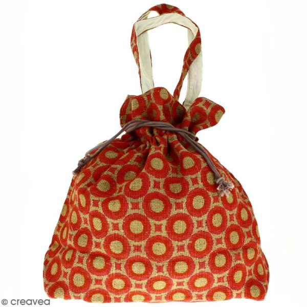 Grand sac seau en jute naturelle - Cercles et carrés - Rouge clair - 43 x 45 cm - Photo n°1