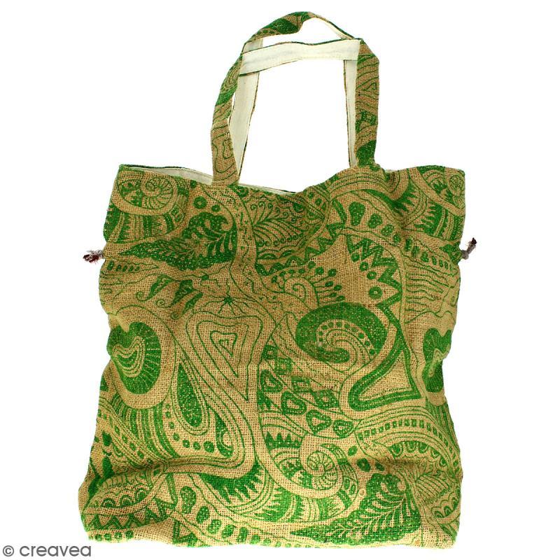 Grand sac seau en jute naturelle - Polynésien - Vert clair - 43 x 45 cm - Photo n°4