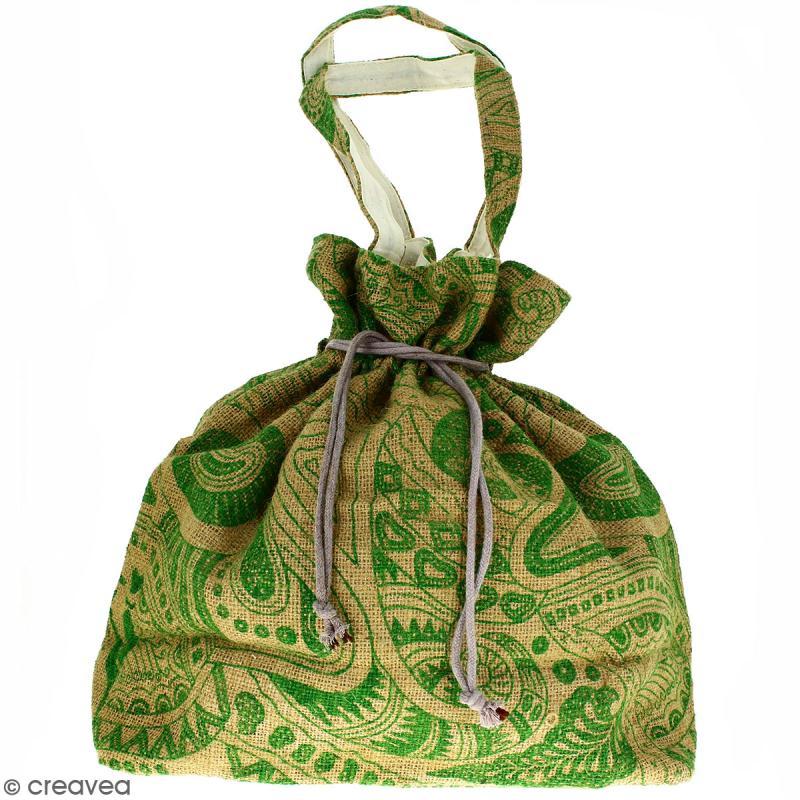 Grand sac seau en jute naturelle - Polynésien - Vert clair - 43 x 45 cm - Photo n°1