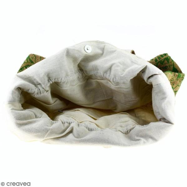 Grand sac seau en jute naturelle - Polynésien - Vert clair - 43 x 45 cm - Photo n°3