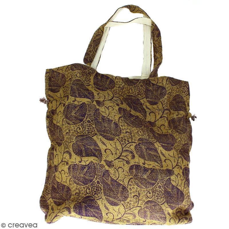 Grand sac seau en jute naturelle - Feuilles - Violet - 43 x 45 cm - Photo n°4