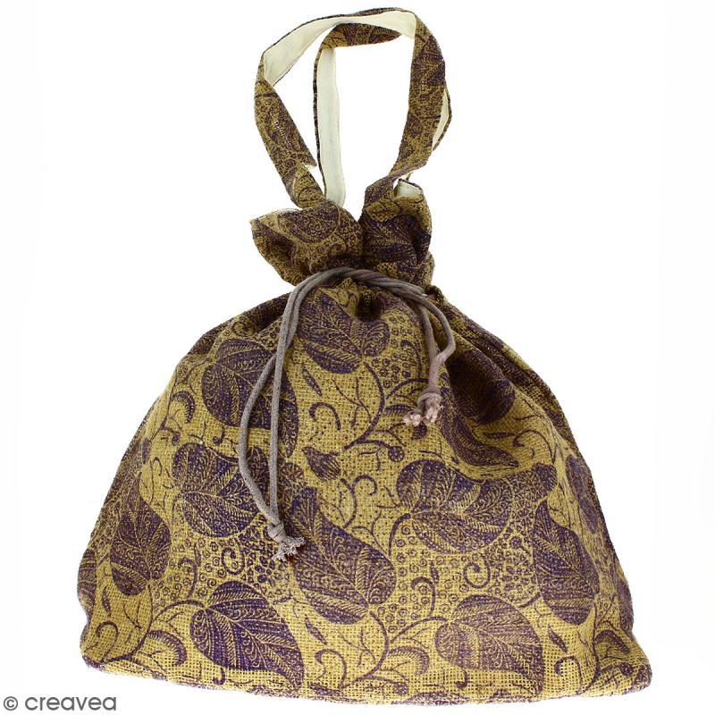 Grand sac seau en jute naturelle - Feuilles - Violet - 43 x 45 cm - Photo n°1